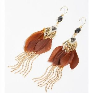 Majorelle/Free People Brown/Gold Feather Earrings